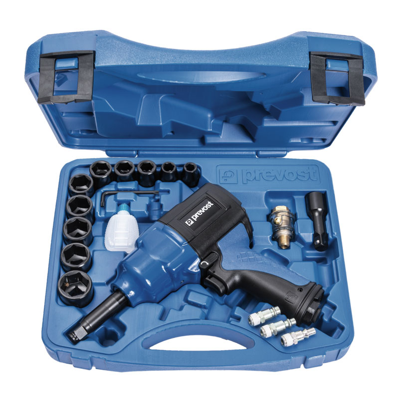 """Composite air impact wrench Prevost TIW C121150RK 1/2"""" with extended shaft in case"""