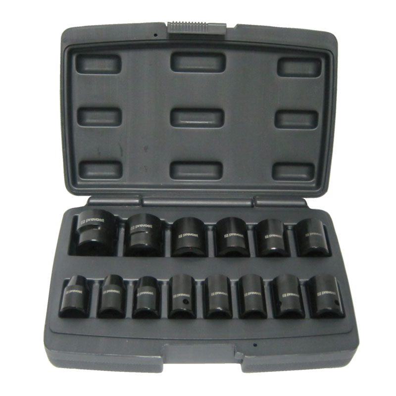 """Box of 14 sockets for 1/2"""" square impact wrenches Prevost TIW 14S12"""